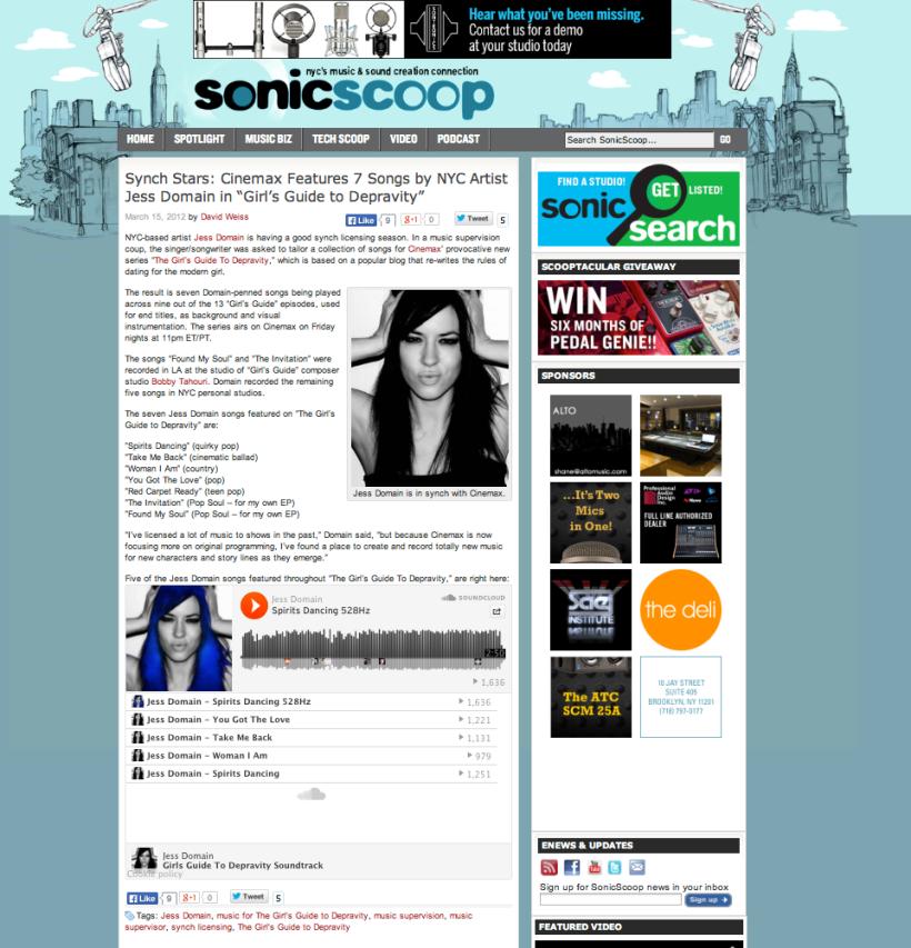 Sonic Scoop Article